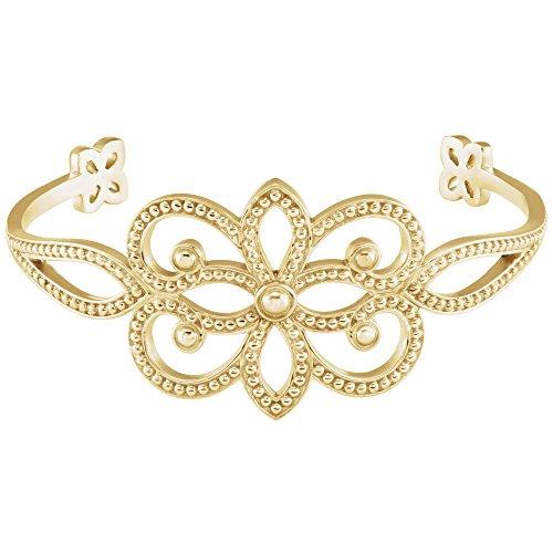 18k Yellow Gold Granulated Cuff Bracelet