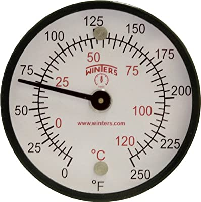 """Winters TMT Series Steel Dual scale Surface Magnet Thermometer, 2"""" Dial Display, +/-2% Accuracy, 0-250 F/C Range"""