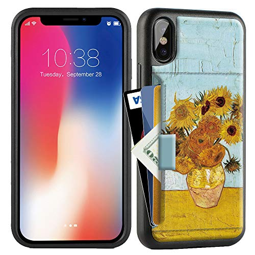 ZVE Case for Apple iPhone Xs and X, 5.8 inch, Wallet Case with Credit Card Holder Slot Slim Leather Pocket Protective Case Cover for Apple iPhone Xs and X 5.8 inch (Aries Series)- Van Gogh Sunflower