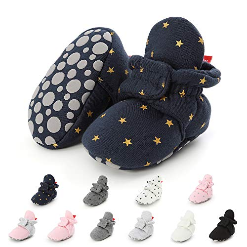 - Meckior Save Beautiful Newborn Infant Baby Girls Boys Warm Fleece Winter Booties First Walkers Slippers Shoes (0-6 Months Infant, C-Blue)