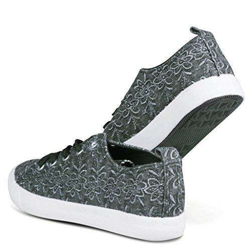 Twisted Mujeres Kix Lo-top Bordado Floral Sneakers Negro