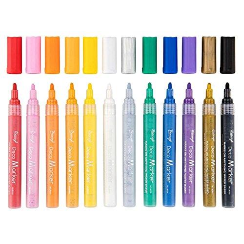 Perfk 12色 絵 文房具 アクリルペイントマーカーペン 学生 オフィス用品 塗り絵 子供のため