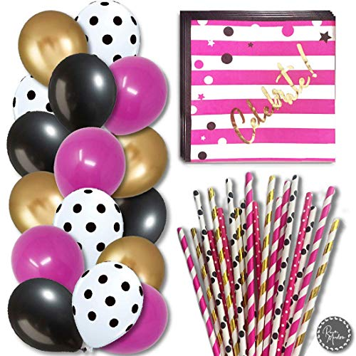 RainMeadow Birthday, Baby Shower, Bridal Party Decorations | Girls, Women Party Set Kit | Hot Pink Gold Black White | Party Supply Packs | Balloons | Napkins | Straws | Kate Spade Inspired