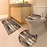 HuaWuhome 3 Piece Toilet lid Cover mat Set and Ground Wooden Rustic Floor Planks Grungy Look Farmhouse Country Style Walnut Oak Grain Printed