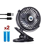 Stroller Clip Fan - USB Rechargeable, Clip on Fan, 360° rotation - Black, by Eazyclips