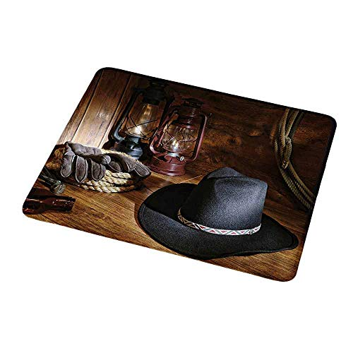 Cowboy Equipment Rodeo - Gaming Mouse Pad Custom Western,American Rodeo Equipment with Cowboy Felt Hat Ranching Tools Lanterns Photo,Black and Brown,Non-Slip Personalized Rectangle Mouse pad 9.8