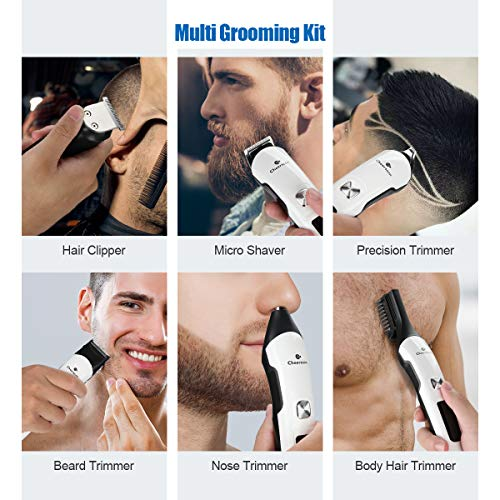 Cheersoon Hair Clippers for Men Professional Cordless Electric Clippers for Hair Cutting Beard Trimmer Barbers Grooming Kit Waterproof IPX7,Rechargeable, with LED Display, White