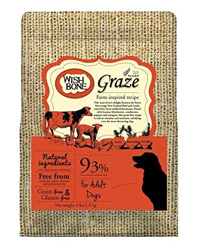 Wishbone Graze Grain Free and Gluten Free Dry Dog Food, Made from New Zealand Beef Dog Food, All Natural Dry Dog Food, High Protein and Rich in Taurine Dry Dog Food, for All Dog Life Stages