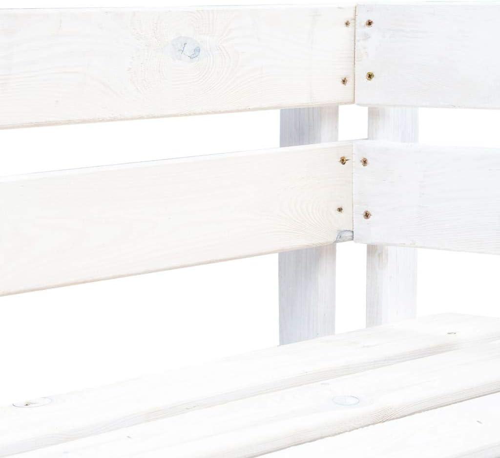 Tidyard Panca da Giardino Angolare con Pallet in Legno FSC Bianco