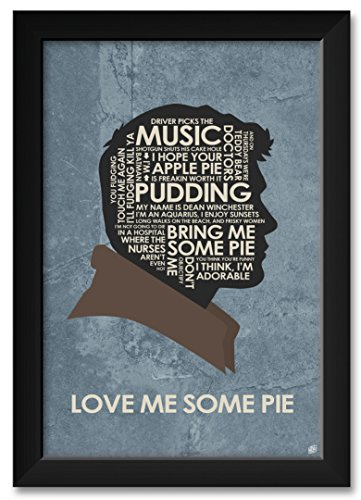 Dean Winchester Love ME Some Pie Framed Art Print by Stephen Poon. Print Size 12 x 18 Framed Art Size 14 x 20