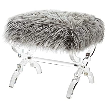 Prime Amazon Com Posh Living Brayden Grey Faux Fur Ottoman Lamtechconsult Wood Chair Design Ideas Lamtechconsultcom
