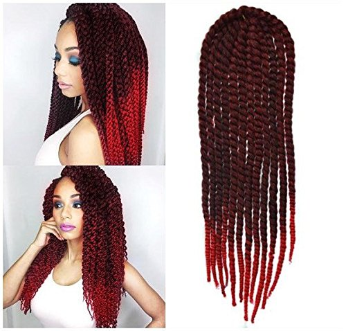 Off Black to Red Two Colors Ombre Crochet Braid Hair Extensions, Hair  Braids Havana Mambo