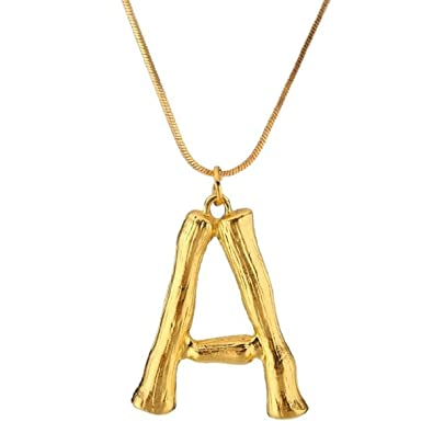 fd27b2d703c Buy Sansar India Letter Alphabet Pendant Necklace Golden Color Chain  Initial Bib Charms for Women Jewelry Online at Low Prices in India