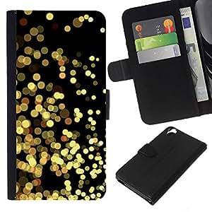 WINCASE Cuadro Funda Voltear Cuero Ranura Tarjetas TPU Carcasas Protectora Cover Case Para HTC Desire 820 - luces amarillas negro reluciente oro