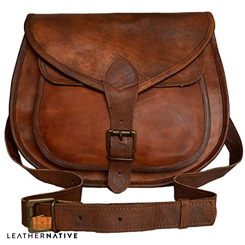 (Women's Handmade Leather Saddlebag Purse - Smart Green Canvas Lining and Reinforced Hand-Stitching - 3 Compartments, 2 are Zippered - Crossbody Purse for Business and Pleasure - 9 x 11)