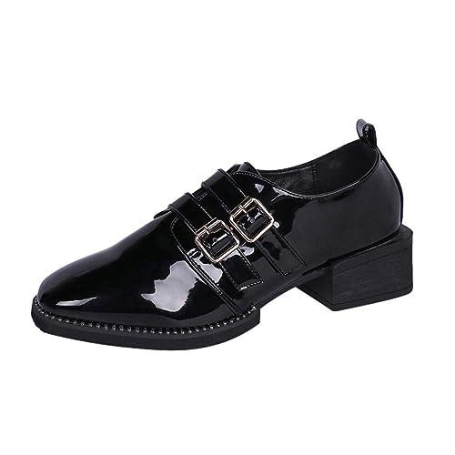 Zapatos de Charol Tacón Ancho Altas Chic para Mujer Otoño 2018 Moda PAOLIAN Botas Bajos de Punta Señora Fiesta Calzado de Remache Vestir Dama Tallas Grandes ...