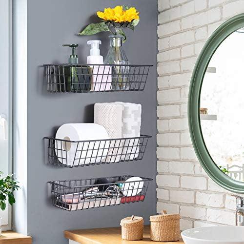51Mu2uk0M1L. AC 3 Set Hanging Wall Basket for Storage, Wall Mount Steel Wire Baskets, Metal Hang Cabinet Bin for Organizer, Rustic Farmhouse Decor, Kitchen Bathroom Accessories Organizer, Industrial Gray, Medium    Product Description