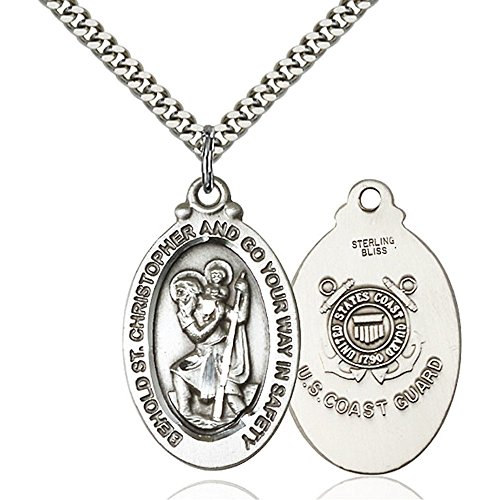 Bonyak Jewelry Sterling Silver St. Christopher Pendant 1 1/8 x 5/8 inches with Heavy Curb Chain