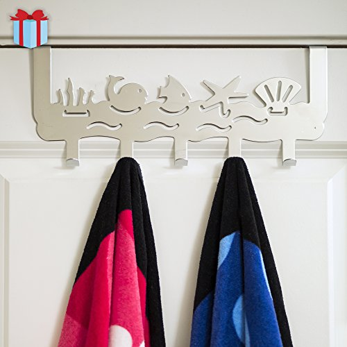 Ocean - Over the Door Organizer with 5 Hooks | Decorative Over the Door Hooks For Bedroom, Kids Room, Bathroom | Coats, Clothes, Towels, Robes | By Comfify (Mirror Finish)