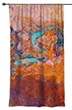 Drapery panel with abstract art, 50''x84'' in turquoise and orange, Southwest Archetype