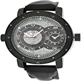 Jojino Jojo King Bling Ice Master Men Black Silver Diamond Leather Band Watch