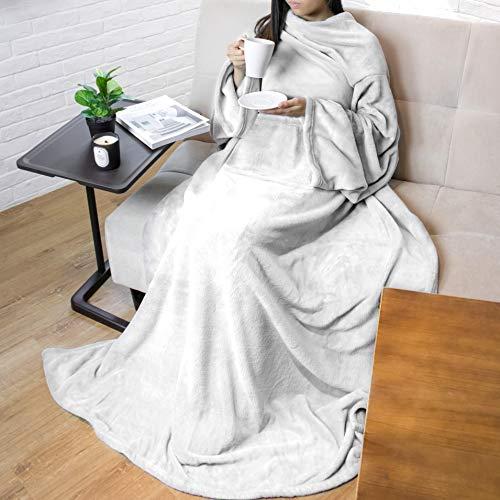 PAVILIA Premium Fleece Blanket with Sleeves for Adult, Women, Men | Warm, Cozy, Extra Soft, Microplush, Functional, Lightweight Wearable Throw (Light Gray, Kangaroo Pocket)