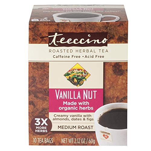 (Teeccino Vanilla Nut Chicory Roasted Herbal Tea, Caffeine Free, Acid Free, Prebiotic Coffee Substitute, 10 Tea Bags)