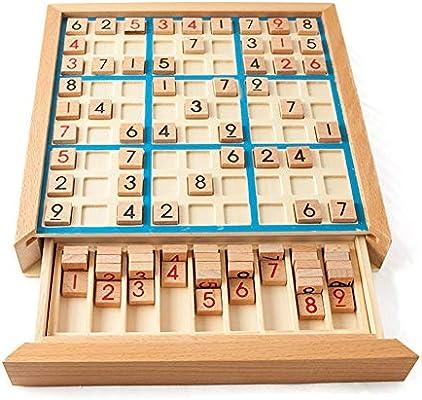 Amyove Sudoku ajedrez dígitos 1 a 9 Inteligente de Juegos de Mesa con cajón Educativo de Madera de Juguete para niños Adultos: Amazon.es: Juguetes y juegos