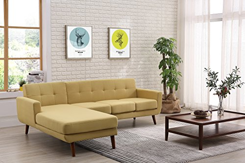Container Furniture Direct S0122L-2PC Andy Linen Upholstered Midcentury Modern Left-Sided Sectional Sofa, 69.29