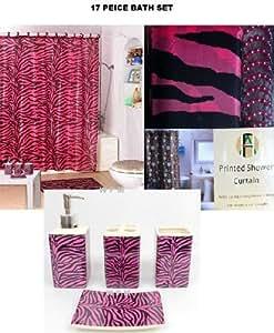 mesmerizing pink bathroom accessories sets | Amazon.com: 17 Piece Bath Accessory Set- Pink Zebra Shower ...