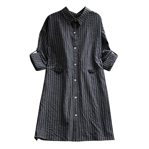 Womens Dress DEATU Clearance Ladies Casual Long Sleeve Cotton Linen Striped Dresses with Pockets(Black,S) ()