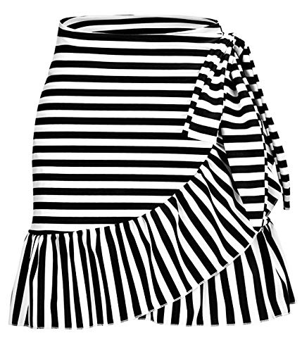 ChinFun Women's Ruffle Sarongs Beach Wrap Swimwear Bikini Tankini Cover Up Swim Skirts Swimdress Black Stripe L-2XL