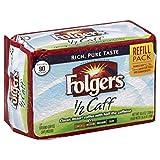 Folgers Half-Caff Ground Coffee, Medium Roast, 10.8 Ounce Brick (Pack of 12)