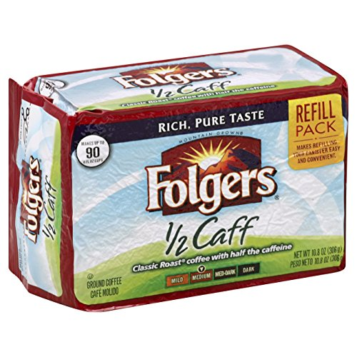 Folgers Half-Caff Ground Coffee, Medium Roast, 10.8 Ounce Brick (Pack of 12) by Folgers