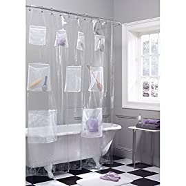 MAYTEX Quick Dry Mesh Pockets Waterproof PEVA Shower Curtain or Liner, Bath/Shower Organizer, Clear, 70 inches x 72 inches 42 Maytex Mesh Pockets PEVA Shower Curtain or Liner can be used inside or outside of tub and features 9 quick mesh pockets that will organize your shower / bath Stores toys, holds soaps, shampoo, conditioner, razors, and more! Will fit standard size showers and tubs and Measures, 70 inches x 72 inches