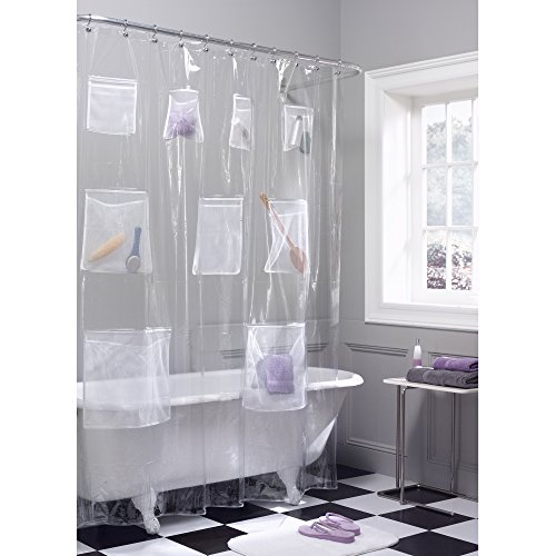Maytex Quick Dry Mesh Pockets Waterproof PEVA Shower Curtain or Liner, Bath / Shower Organizer, Clear, 70 inches  x 72 inches ()