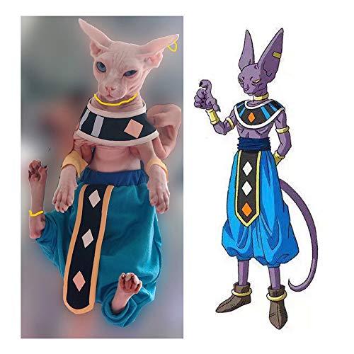 Khemn Luxury 丨HANDMADE 丨100% Cotton Dragon Ball Star Cat Beerus Costume Cat Fashion Clothes-Best for Hairless Cat (3-5 Months)
