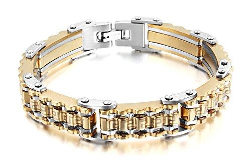 Mens Fashion Stainless Steel Greek Key Pattern Gear Link Bracelet,Two Tone,8.7