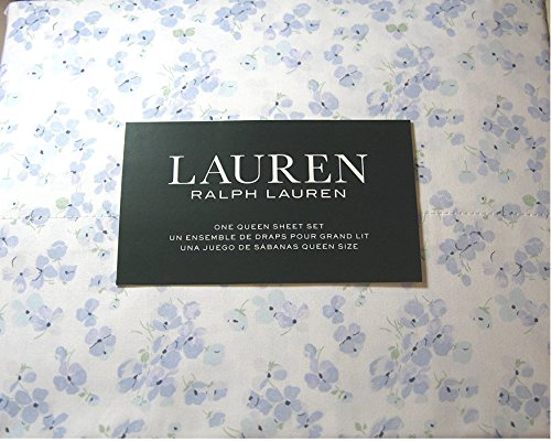 (Lauren King Sheet Set 4 Pc Blue and White Floral Cottage Country Cotton Bedding)
