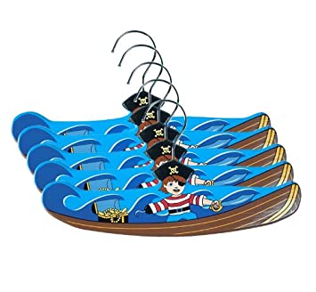 Kidorable Pirate Ship Fun Brown Blue Hand Crafted Wooden Hangers for Boys, Set of 5, 14 Inches