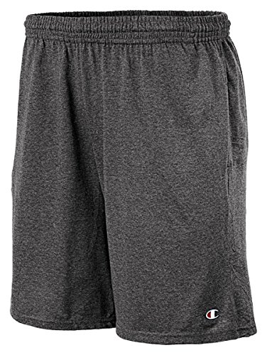 Champion Authentic Cotton 9-Inch Men's Shorts with Pockets_Granite Heather_M by Champion