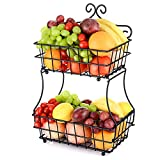 Oakome 2-Tier Fruit Bread Basket Wire Metal Basket Stand for Home and Office, Perfect for Fruit, Vegetables, Snacks, bathroom or kitchen Items (Free Screws)
