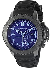 Mens NAD52500G NMX Dive Style Blue Crystal Analog Display Analog Quartz Black Watch. Nautica