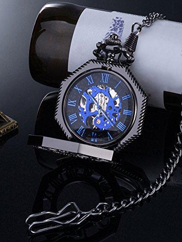 머더 체인 빈티지 기계식 손으로 바람 해골 주머니 시계 Xmas 선물..