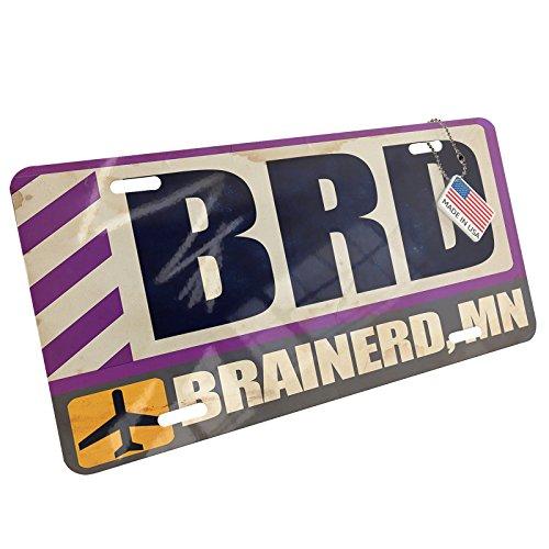Metal License Plate Airportcode BRD Brainerd, MN - Neonblond ()