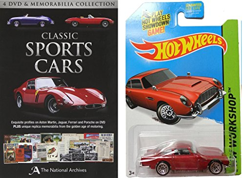 Classic Sports Cars (Aston Martin / Jaguar E-Type / Ferrari / Porsche) with Memorabilia and Hot Wheels Aston Martin 1963 DB5 James Bond Maroon 1:64 DieCast Gift Bundle
