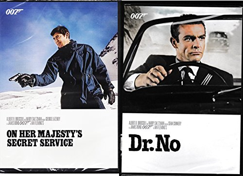 James Bond 007 George Lazenby & Sean Connery Collection 2-DVD Bundle - On Her Majesty's Secret Service & Dr. No Set