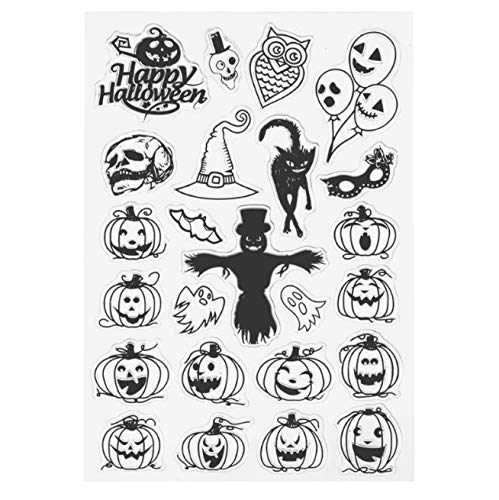 (Scary Face Pumpkin Witch Halloween Silicone Clear Transparent Stamp for Scrapbooking DIY Craft Album Paper Card Decor)