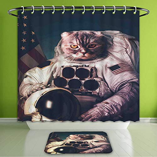 Waterproof Shower Curtain and Bath Rug Set Space Cat Vintage Image Astronaut Kitty with American Flag with Helmet Image White Red and Dark Bath Curtain and Doormat Suit for Bathroom 66