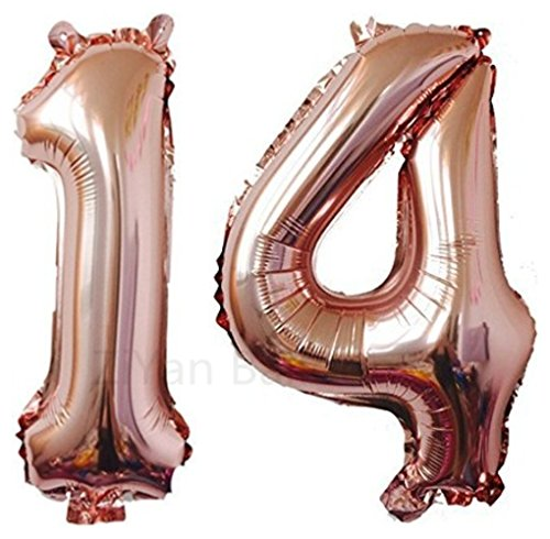 ZIYAN 40 Inch Giant 14th Rose Gold Number Balloons,Birthday / Party Balloons]()